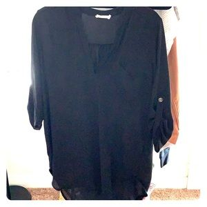 Black sheer tunic. Perf for summer nights!